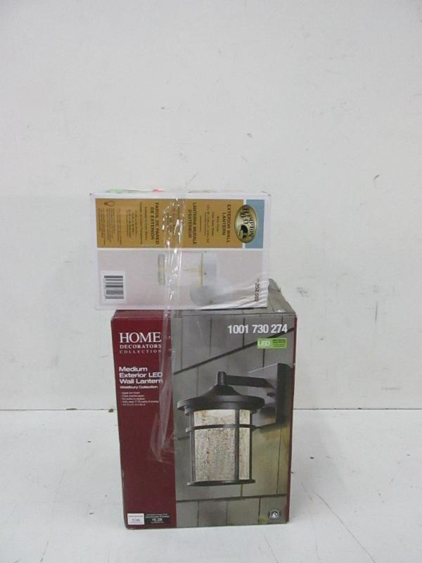 Home Goods Online Auction 09 07 17 ID6371 ITEM HOME DECORATORS COLLECTION Medium Exterior LED Wall Lantern With HAMPTON BAY