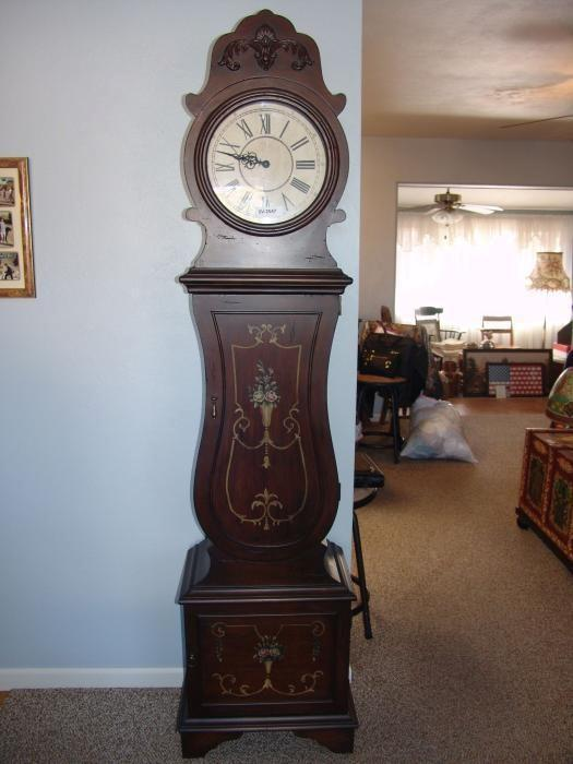 ... Floor Grand Father Clock, Electric, With Shelves And Storage ...