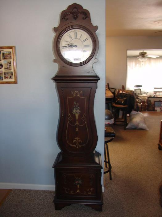 Floor Grand Father Clock, Electric, With Shelves And Storage