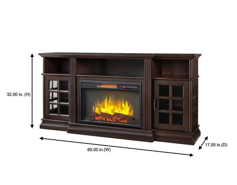New Home Decorators Collection Archfield 65 In Freestanding Infrared Electric Fireplace Tv Stand In Espresso Fireplace Insert Not Included Retail 550 Auction Auction Nation