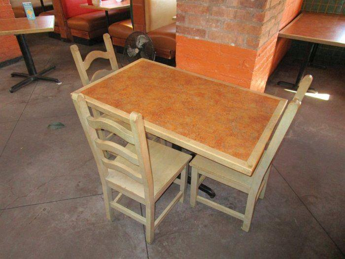 Solid Wood Dining Table With Metal Base And 3 Chairs