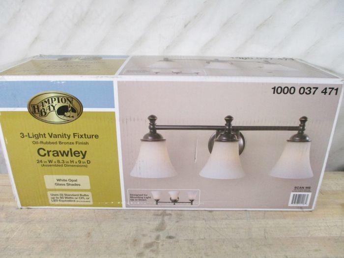 Hampton Bay 3 Light Bronze Bath Light 25107: Auction: WEST VALLEY, AZ Lighting